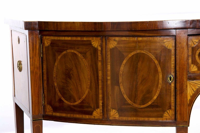 18th Century English George III Inlaid Mahogany Bowfront Antique Sideboard For Sale 5