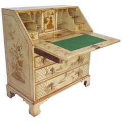 18th Century English George III Lacquer and Gilt Chinoiserie Secretary