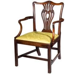 English 18th Century Mahogany Chippendale Desk Armchair