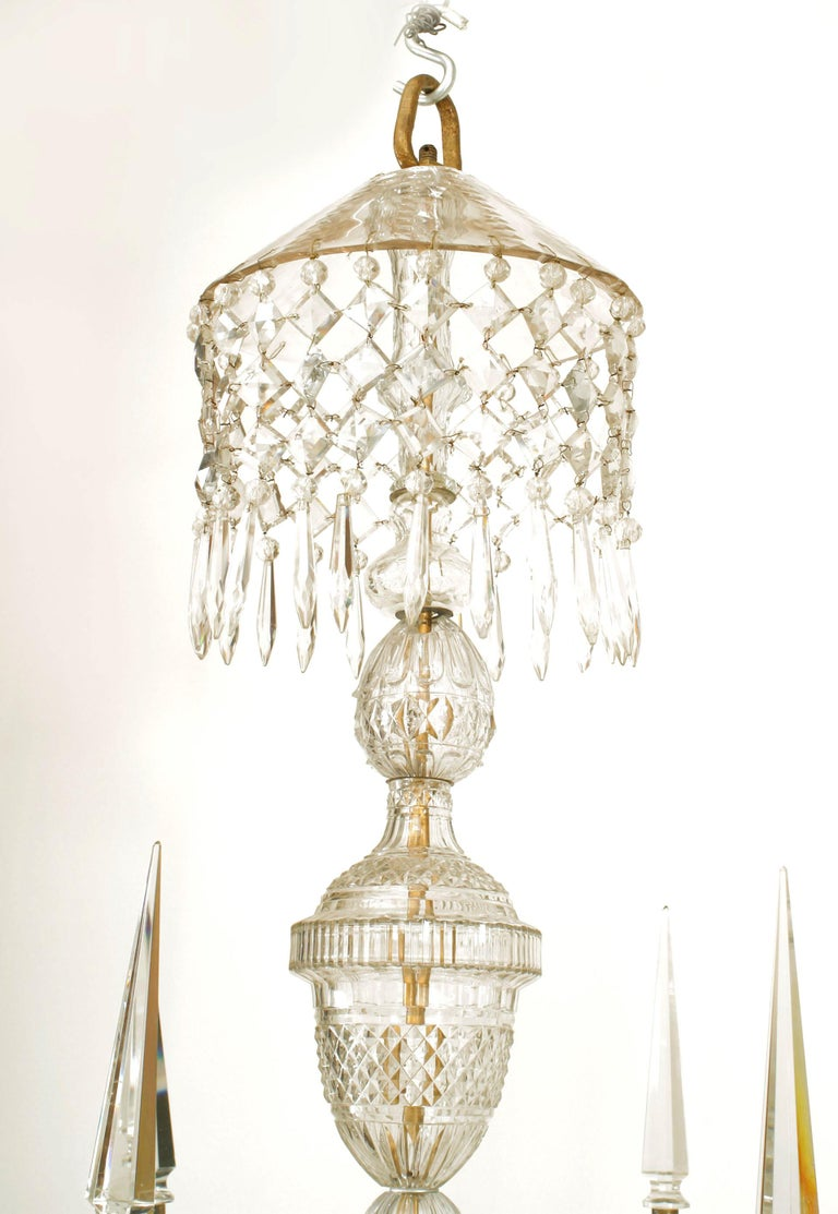 18th Century and Earlier 18th Century English Georgian Crystal and Brass Chandelier For Sale