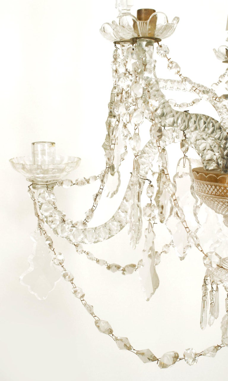 18th Century English Georgian Crystal and Brass Chandelier For Sale 1