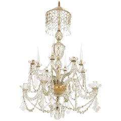 18th Century English Georgian Crystal and Brass Chandelier