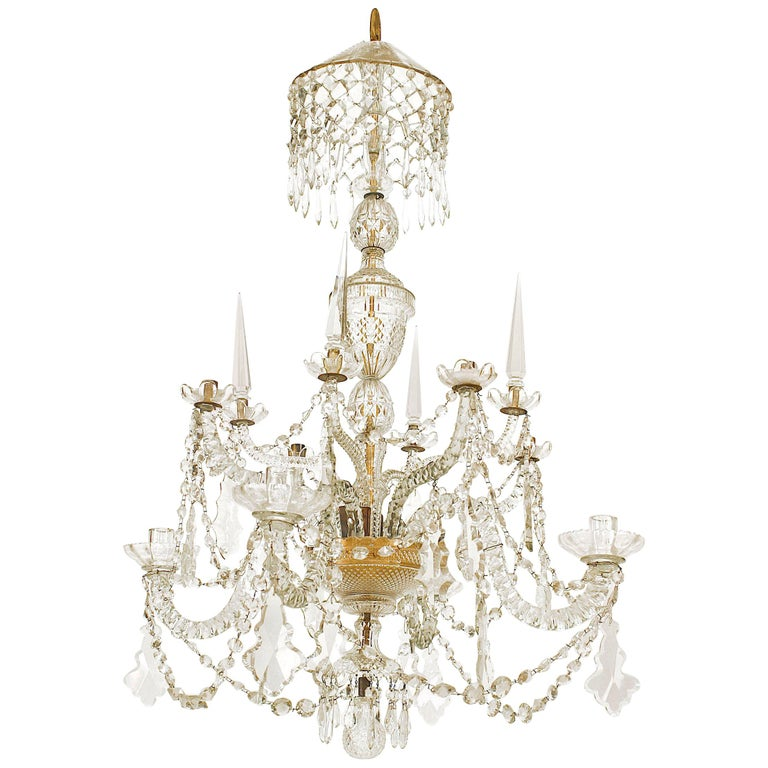 18th Century English Georgian Crystal and Brass Chandelier For Sale