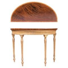 18th Century English Georgian Mahogany & Giltwood Adam Style Console Table
