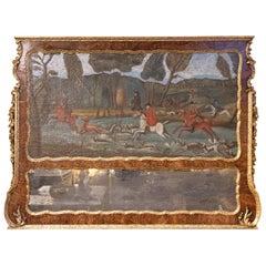 18th Century English Georgian Mirror with Hunt Scene