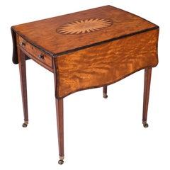 18th Century English Georgian Satinwood Drop Leaf Pembroke Side Table