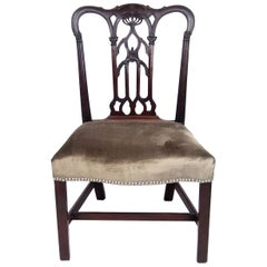 18th Century English Gothic Chippendale Mahogany Side Chair in Grey Velvet