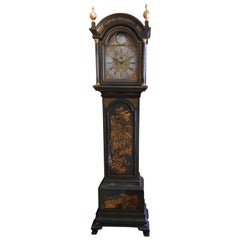 18th Century English Green Chinoiserie Hand Painted Grandfather Clock
