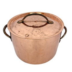 18th Century English Hand-Hammered Copper Stock Pot