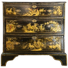 18th Century English Japanned 3-Drawer Chest