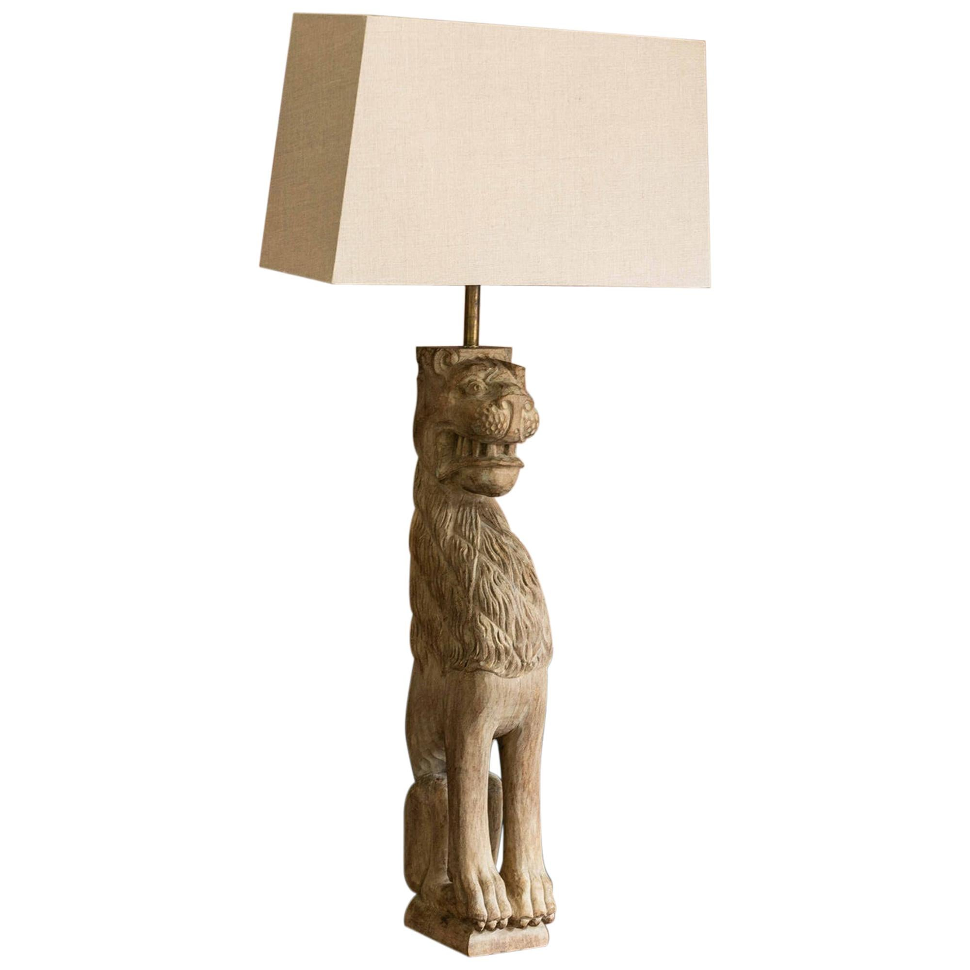 18th Century English Large Carved Oak Lion Table Lamp
