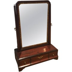 18th Century English Mahogany Dressing Vanity Mirror