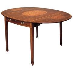 18th Century English Mahogany Oval Pembroke Table