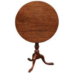 18th Century English Mahogany Tilt-Top Table with Tripod Base & Pad Feet