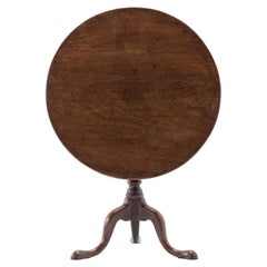 18th Century English Mahogany Tilt Top Tri-pod Table
