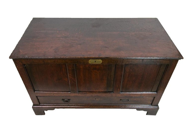 The front of this English oak blanket chest has three recessed panels framed with molded edges and one long drawer with the original open panels. The key hole has a flush brass escutcheon. The sides have recessed panels with molded framing. The base