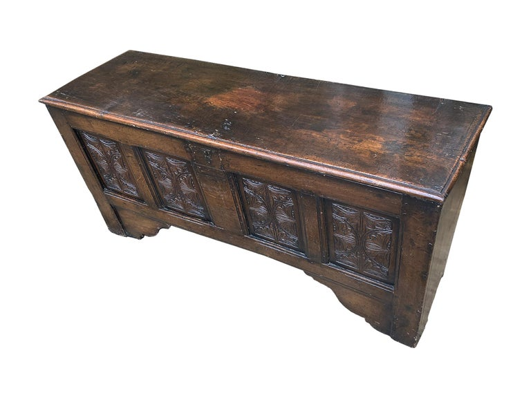 Hand-Carved 18th Century English Oak Blanket Chest For Sale