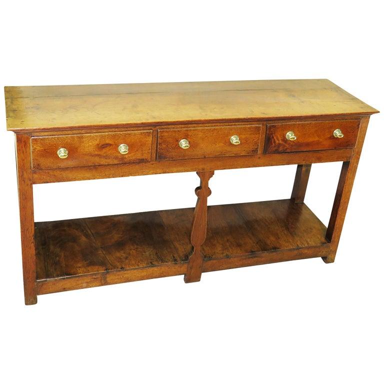 18th Century English Oak Potboard Dresser Base