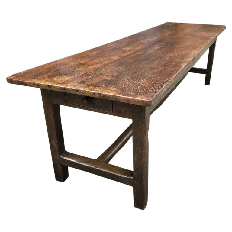 18th Century English Oak Refectory Table For Sale