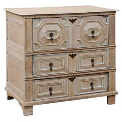 18th Century English Ornately Paneled Oak Chest Carved in Geometrical Motif