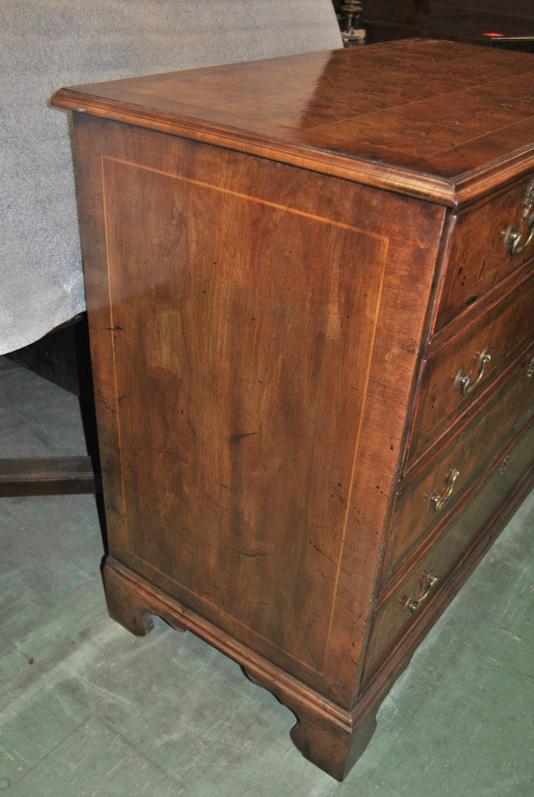 18th Century English Oyster Walnut Chest of Drawers For Sale 1