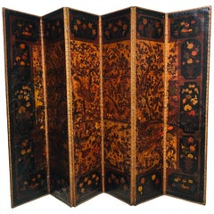 18th Century English Queen Anne Six Panel Painted Leather Screen