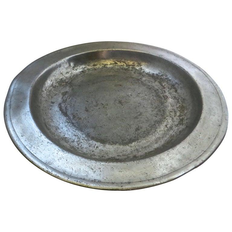 18th Century English Pewter Sadware Dish For Sale