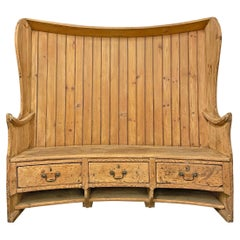18th Century English Pine Curved Settle