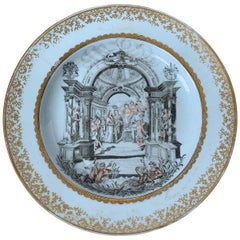 18th Century English Porcelain Marriage Plate with Two Dordrecht Family Crests