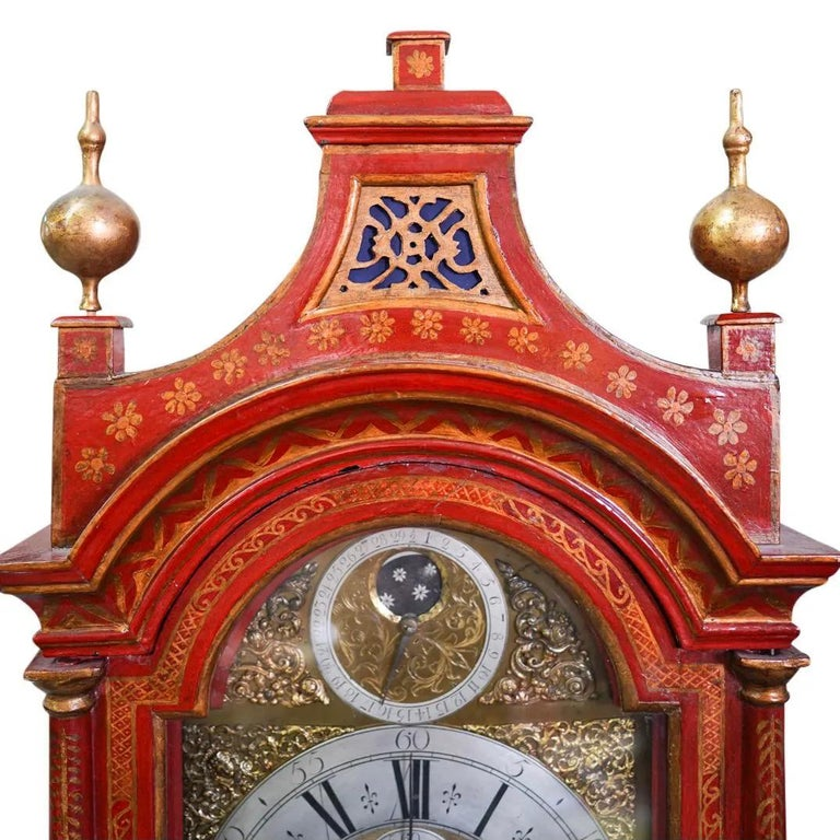18th Century English Red Lacquered Chinoiserie Tall Case Clock In Good Condition For Sale In Essex, MA