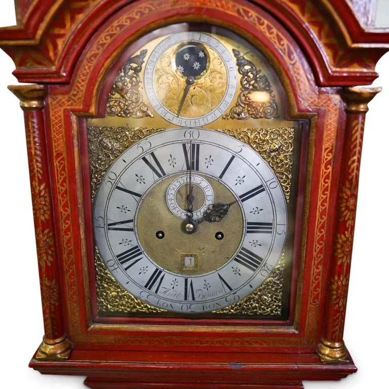 18th Century and Earlier 18th Century English Red Lacquered Chinoiserie Tall Case Clock For Sale