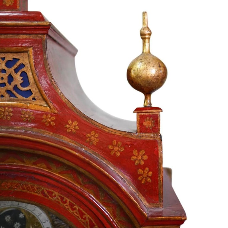 Brass 18th Century English Red Lacquered Chinoiserie Tall Case Clock For Sale