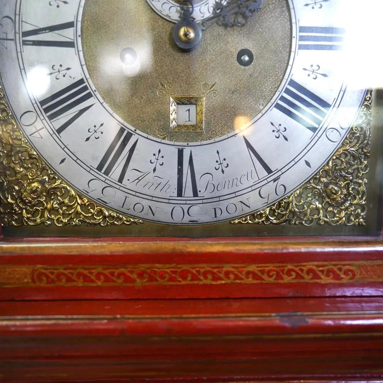 18th Century English Red Lacquered Chinoiserie Tall Case Clock For Sale 1