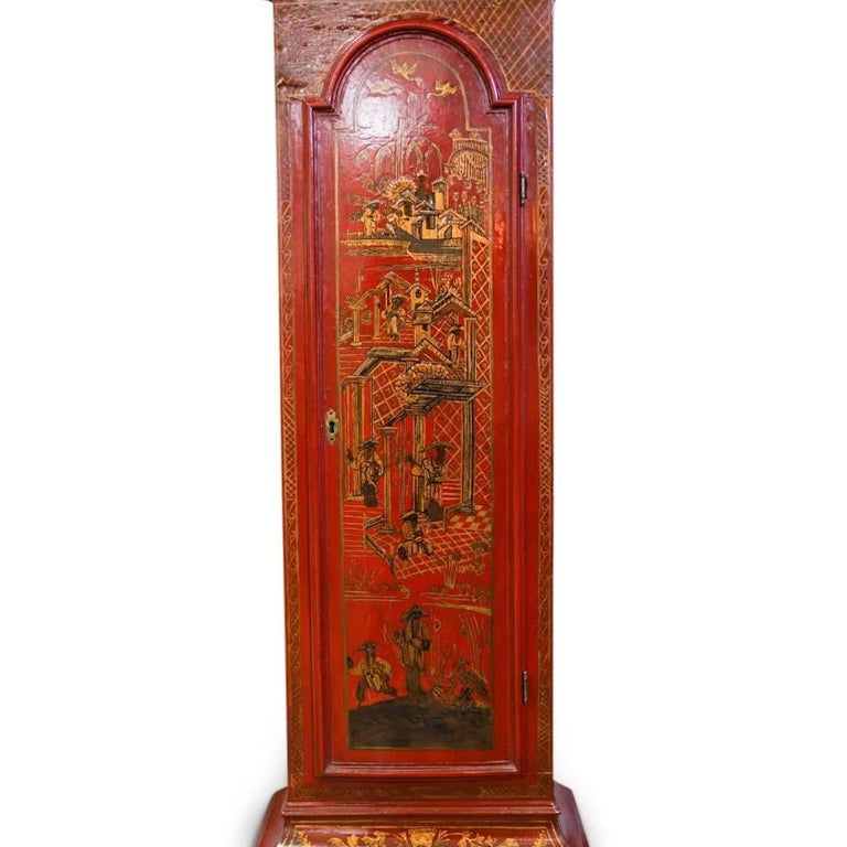 18th Century English Red Lacquered Chinoiserie Tall Case Clock For Sale 2