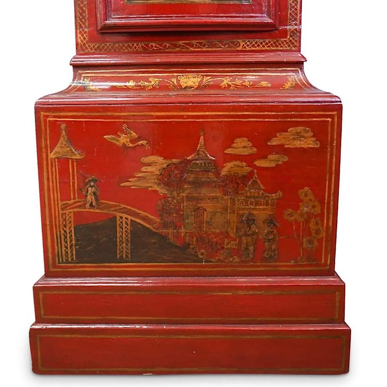 18th Century English Red Lacquered Chinoiserie Tall Case Clock For Sale 3