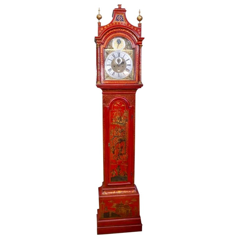 18th Century English Red Lacquered Chinoiserie Tall Case Clock For Sale