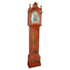 18th Century English Scarlet Red Lacquered Chinoiserie Tall Case Clock