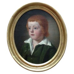 18th Century English School Portrait of a Young Boy Oil on Canvas