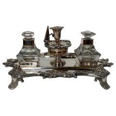 18th Century English Sheffield Silver Plate Inkwell Desk Set