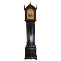 18th Century English Tall Case Grandfather Clock, Brass Face, Mahogany, London