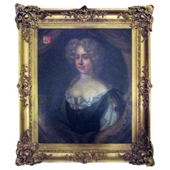 18th Century English Titled Lady with Coat of Arms Framed Oil Portrait Painting