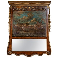 18th Century, English Trumeau Mirror with Oil Painting