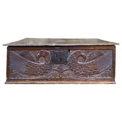 18th Century English Walnut Bible Box with Bird Motif