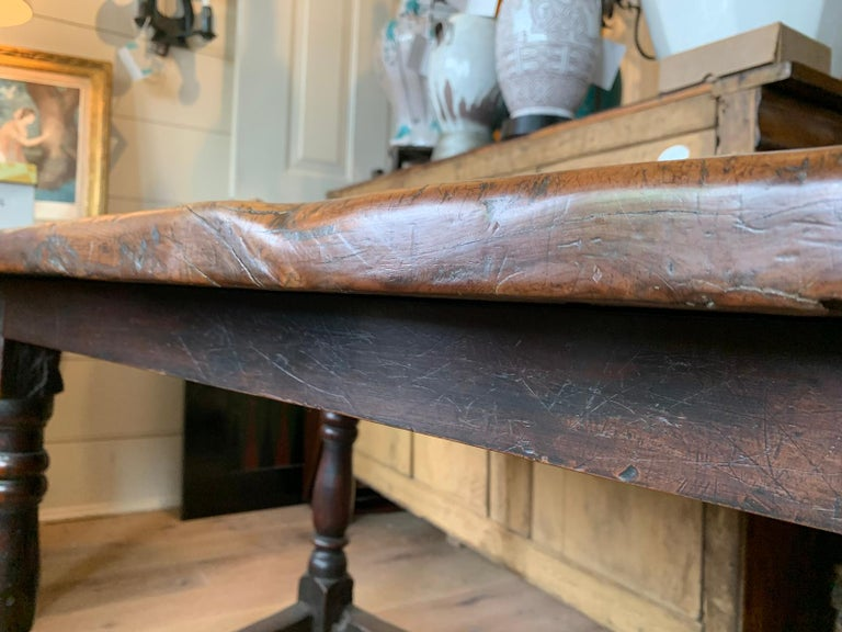 18th Century English Walnut Hall Table with Four Sided Stretcher For Sale 6