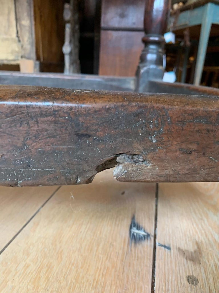 18th Century English Walnut Hall Table with Four Sided Stretcher For Sale 7