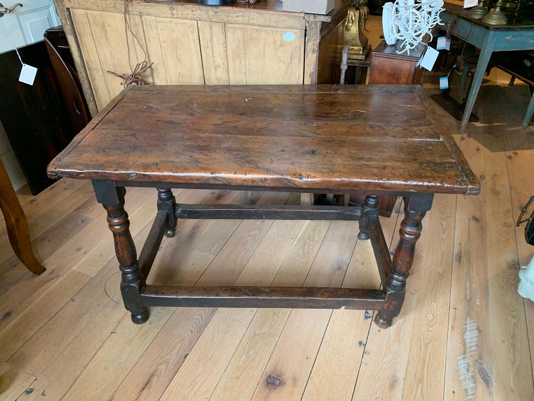 18th Century English Walnut Hall Table with Four Sided Stretcher For Sale 10