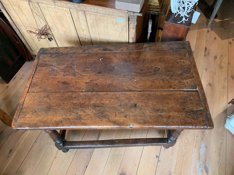 18th Century and Earlier 18th Century English Walnut Hall Table with Four Sided Stretcher For Sale