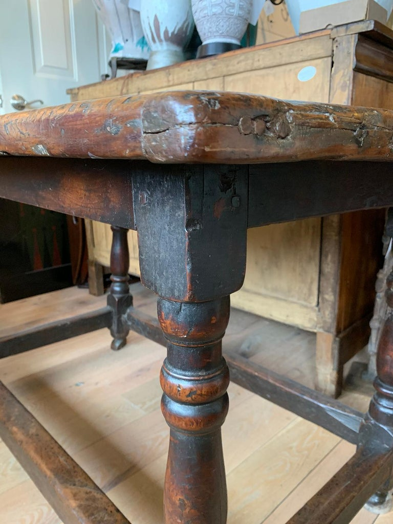 Wood 18th Century English Walnut Hall Table with Four Sided Stretcher For Sale