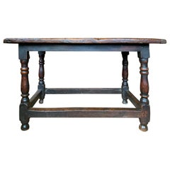 18th Century English Walnut Hall Table with Four Sided Stretcher