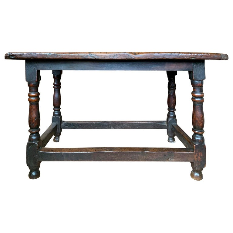 18th Century English Walnut Hall Table with Four Sided Stretcher For Sale